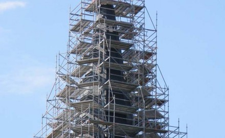 Steel scaffolding on civil building